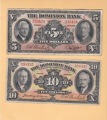 1935 & 1938 The Dominion Bank Of Toronto $5 And $10 In F/vf Cond. Limited Series
