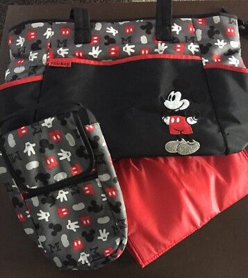 Baby Mickey Mouse Diaper Bag With Bottle  Bag and Red Changing Mat Preowned