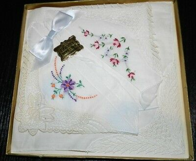 Vintage Swiss Hand Loom Embroidery Ladies Fine Handkerchief In Box
