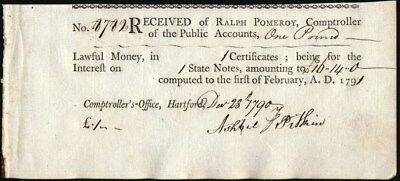 Colonial Pay Voucher, Hartford, Conn. 1891 For One Pound, Comptroller's Office