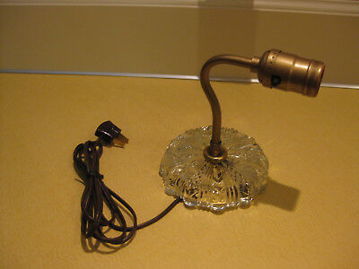 Vintage 1950's Brass & Glass Electric Light Wall Sconce with Cord