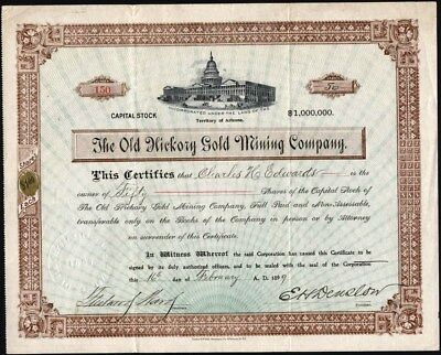 Old Hickory Gold Mining Co, 1899, Uncancelled Territory Of Arizona Stock Cft.