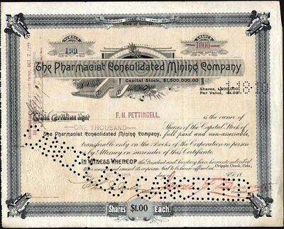 Pharmacist Consolidated Mining Co, 1899 Cripple Creek, Signed By James F. Burns