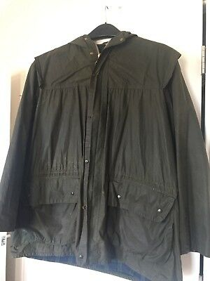 Barbour England Waxed Cotton Lined Durham Jacket Coat Hooded Size C40