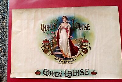 1890's QUEEN LOUISE INNER CIGAR BOX LABEL EMBOSSED SCARCE