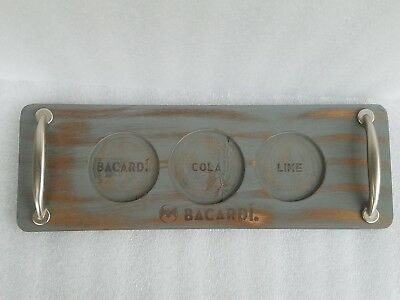 "Bacardi Rum Cola & Lime 15"" Wood Bar Serving Tray Man Cave"
