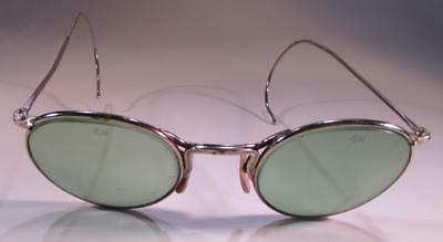 Vintage American Optical Ao 23 Ful-Vue Tinted Green Steampunk Glasses with Case