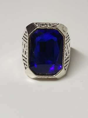 Chinese Exquisite Silver Handwork Inlaid Sapphire Fashion Ring