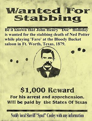 Old West Wanted Posters Holliday Doc Tombstone Ok Corral Earps Ringo Cowboys Law