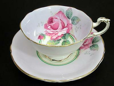 Paragon Double Warrant Tea Teacup Cup & Saucer c1939 Large Pink Rose on Lavender