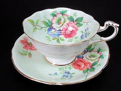 Paragon Double Warrant Tea Teacup Cup & Saucer c1939 Rose Floral Pale Green