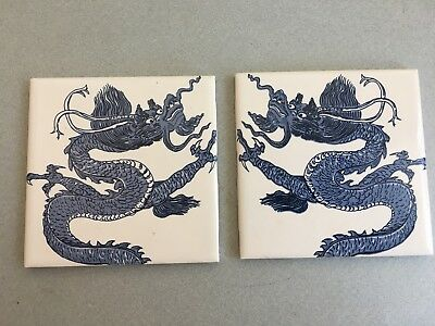 vintage Wenczel blue and white chinese dragon tiles set of two