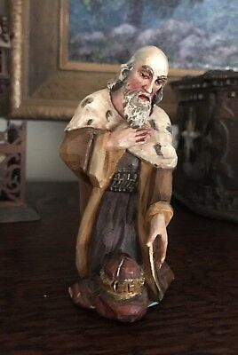 Lovely Hand carved & painted wood Figure of a Man Kneeling in front of a crown