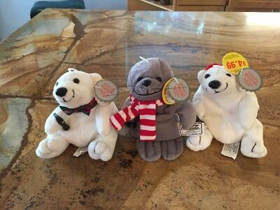 Coca Cola Plush Bean Bag Toys Lot Of 3 # 101, 105 & 106 Bears And Seal New
