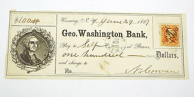 1867 George Washington Bank - Corning N Y - Obsolete Bank Check w/ Revenue Stamp