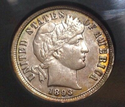 1893p Barber Dime , Nice Toned AU Better Date ~ Take A Look !