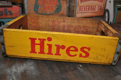 Vintage Hires Soda Wood Crate Red Letters