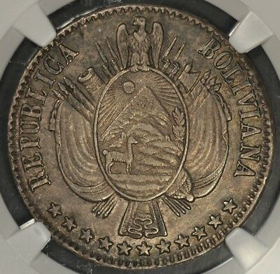 1867-Pts Fe/p Ngc Au58 Bolivia Bolivar Km-152.2 Superb Color