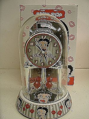 BETTY BOOP Porcelain Anniversary Collectible Glass Dome Clock GRAY STRIPE KISSES