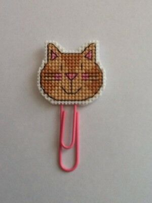 Handmade Completed Cross Stitch Book Mark - Cat