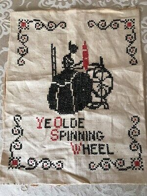 """Antique Primitive Hand Stitched Spinning Wheel Sampler 11""""x14"""" Free Shipping"""