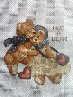 Handmade Completed Unframed Cross Stitch - Hug a Bear