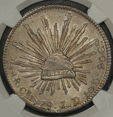 1879-Cn Jd Ngc Ms62 Mexico 8 Reales Straight 9