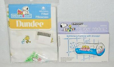 New Vintage Snoopy & Woodstock for Baby Fitted Pillowcase & Bathtub Spout Cover