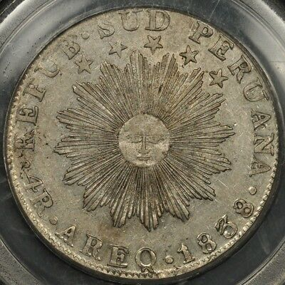 1838-Areq Mv Pcgs Xf45 South Peru 4 Reales Arequipa Ogh Green Label