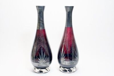 A Matched Pair of Art Deco Era Amethyst Glass Vases with Silver Painted Surface