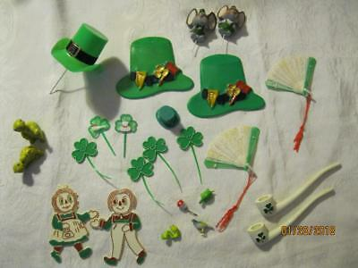 24 VINTAGE St. Patrick's Day PARTY CAKE DECORATIONS TOPPERS PICKS Very Unique