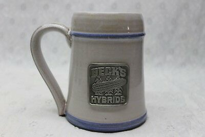 BECKS HYBRIDS seed Corn metal Plaque on Stoneware Pottery Mug - IMPRESSIVE !