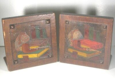Arts and Crafts Bookends - Hand Painted Leatherwork Scene on Oak Wood