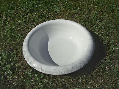 Ironstone Bowl Basin Knowles Antique Vitreous China Large White Gold Flowers