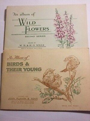 2 Full 1930's Cigarette Card Albums. Birds & Wildflowers. VG/Exc.