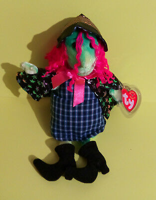 2001 TY Beanie Babies Halloween SCARY - The Green Witch - Colorful - NEW NWT