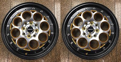 TWO GOLD DRAG RIMS SKINNIES 15x3.5 4X100 SKINNY TRACK WHEELS