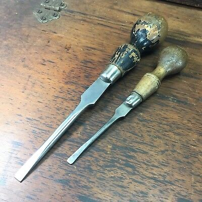 Lot X2 Vintage English Cabinet Makers Pattern Screwdrivers Footprint Old Tools