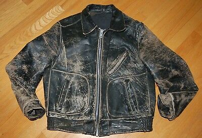 Vintage 60s Totally Destroyed SCHOTT Perfecto  Leather Motorcycle Jacket Size 42