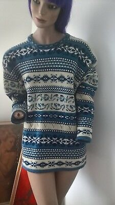 Vintage 80s 90s Katies Fair Isle patterned jumper pullover size 10/S