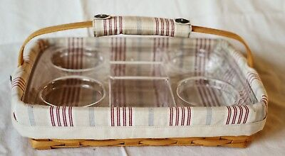 Longaberger ~ Classic Back Porch Basket 2002 w/awning stripe liner and protector