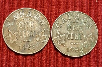 Lot Of 2 1932 Canada Cent Coins
