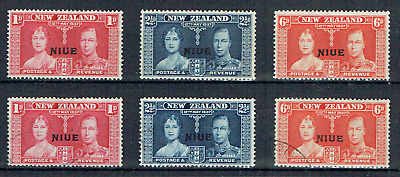 """NIUE (NZ) 1937, 2 sets mint/used, KGVI Coronation, """"NIUE"""" opt on NZ issues, 5014"""