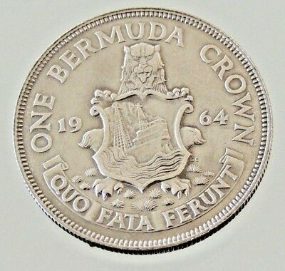1964 One Crown Coin - Bermuda - Reasonable Condition For Age