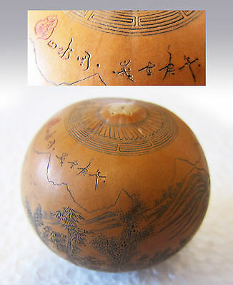RARE vintage ANTIQUE MINIATURE ASIAN CHINESE HAND CARVED SCRIMSHAW GOURD Signed