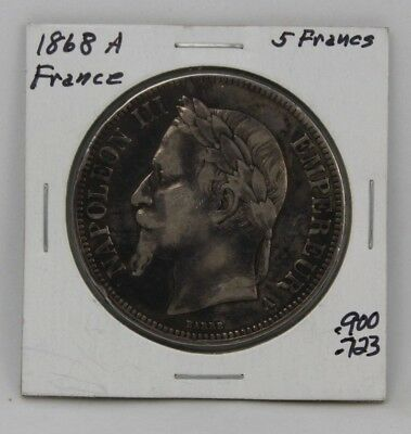 FRANCE 5 FRANCS 1868 A SILVER Coin Detail Item #007