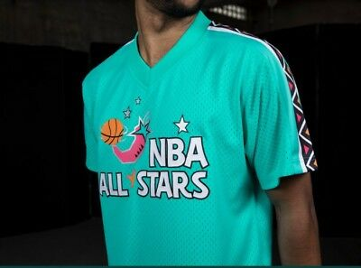 03a05106f Authentic Mitchell   Ness Teal 1996 NBA East All-Star Mesh V-neck Jersey