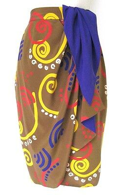 Vintage 1990s Camel Purple Yellow Red 100% Silk Wrap Skirt S