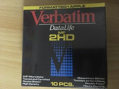 "Verbatim 3.5"" Diskettes Pack of 10 Factory Format Apple - New in Sealed Box"