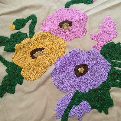 Vintage French Knot Embroidered Flowers Pillow Square